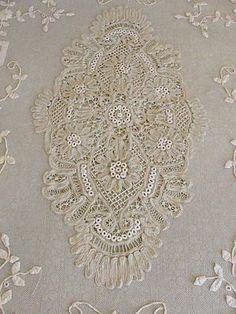 Stunning Antique Applique Battenbrug French Net Lace Bedspread SET
