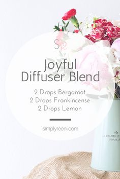 This is one of my favorite joyful essential oil diffuser blend recipes! In an essential oil diffuser add 2 drops Bergamot, 2 drops Frankincense, and 2 drops of Lemon. This helps create an uplifting and joyful atmosphere!✨ For more information visit www.simplyreeni.com