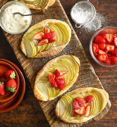We are just in love with these simple tarts made with passionfruit cream and marinated strawberries. Yum!
