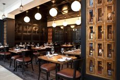 lockers, wine room and panelling at againn restaurant designed by core Pub Interior, Retail Interior, Modern Interior Design, Restaurant Lighting, Cafe Restaurant, Restaurant Design, Restaurant Interiors, Modern Restaurant, Pub Design