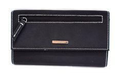 """Nine West Black Trifold Checkbook Wallet 7.25"""" x 4"""" NWOT"""