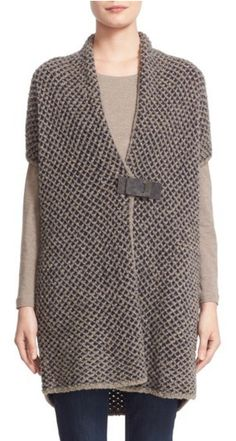 Wide weave, boucle, short sleeve cardigan with leather buckle closure