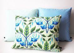 Kissenhülle Blumen//blau-grün//Kissen mit Blumenmuster//Kissen
