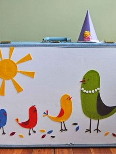 organization: vintage suitcases to store kids dress up clothes, use felt cut-outs to decorate