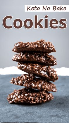 Sweet, crunchy and portable, these keto no bake cookies are the perfect low carb treat. A quick and easy low carb cookie recipe that is sure to be spouse and kid approved. Keto Cookies, No Bake Cookies, Cookies Et Biscuits, Chip Cookies, Low Carb Desserts, Low Carb Recipes, Diet Recipes, Dessert Recipes, Breakfast Recipes