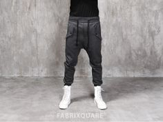 Mens Drop Crotch Flap Pocket Cotton Jersey Pants at Fabrixquare