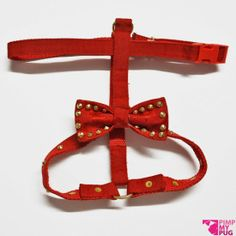 Red bib with gold studs and bow jacquard