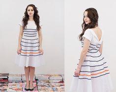 White Stripe Tea Dress - Embellished Full Skirt - Made to Order.