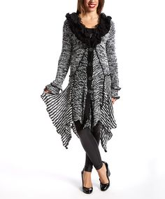 Another great find on #zulily! Black & White Ruffle Silk-Wool Blend Cardigan - Women by Pretty Angel #zulilyfinds