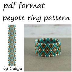 Peyote ring pattern Boho beaded jewelry making Rose gold jewelry Diy Beaded pattern Blue white ring Seed bead pattern Digital pattern