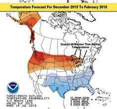 Final December 2015 to February 2016 .. El Nino Temperatures: The temperature forecast for this December 2015 through February 2016 has a better chance of warmer than normal temperatures in most of Michigan . The farther north and west in Michigan, the greater the chance of warmer than normal temperatures .. [.READ MORE.]