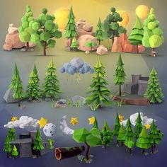 Low Poly Forest collection PNG & PSD images with full transparency. Over 200 angles available for each 3D object, rotate and download. | PixelSquid