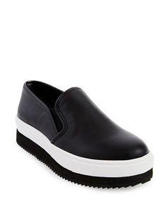 Steve Madden Slick Flatform Slip-On Sneakers Women's Black 9.5