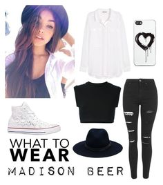 """""""black/white madison beer inspired outfit"""" by jackjohnson91842 ❤ liked on Polyvore featuring TOMORROWLAND, adidas Originals, H&M, Topshop, rag & bone, Converse and Zero Gravity"""