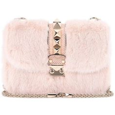 Valentino Valentino Garavani Lock Small Snakeskin and Mink Fur... ($4,210) ❤ liked on Polyvore featuring bags, handbags, shoulder bags, pink, snake skin purse, shoulder hand bags, mink purse, shoulder handbags and pink purse