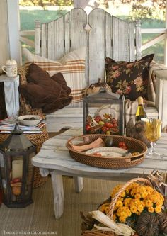 I added a little fall decor for a cozy nook on our screened porch. We use our screen porch 10 months out of the year. Morning temperatures in the and highs… Farmhouse Front Porches, Rustic Farmhouse, Farmhouse Style, Farmhouse Ideas, Autumn Decorating, Porch Decorating, Decorating Ideas, Decor Ideas, Front Porch Design