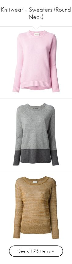 """Knitwear - Sweaters (Round Neck)"" by giovanna1995 ❤ liked on Polyvore featuring tops, sweaters, ribbed knit top, long sleeve tops, pink long sleeve top, ribbed long sleeve top, pink sweater, ribbed cashmere sweater, gray cashmere sweater and round neck sweater"