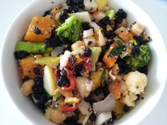Roasted veges, chickpea currant pear and black quinoa salad