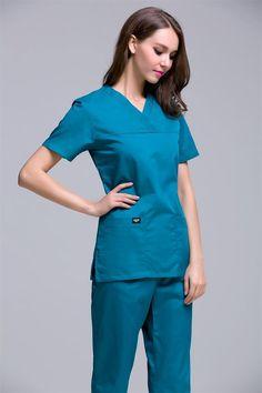 d3c49105004 New 2016 V neck women's scrub uniform dental clinic, beauty salon working  uniform
