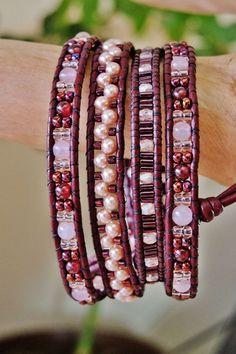 Bracelet de cuir Burgundy WINE & ROSES par BraceletsofBlueRidge