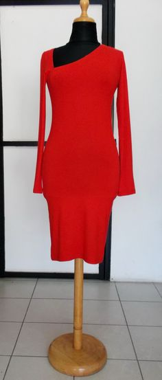 Red slim asymmetrical minimalist handmade dress by DIVINITYbyEVA on Etsy