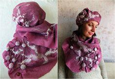 Merino wool women's hat felt scarf warm scarf felt beret