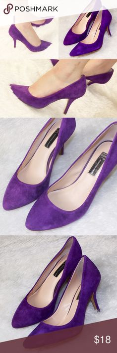 "Purple Suede Heels INC Barely used! Suede material with 3 1/2"" heel INC International Concepts Shoes Heels"
