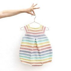 Baby Knitting Patterns Romper Knitted Rainbow Romper DIY Free Pattern & Tutorial Made with Anchor Creativa Diy Romper, Knitted Romper, Baby Girl Romper, Knitted Baby, Baby Dress, Baby Girls, Baby Knitting Patterns, Baby Patterns, Sewing Patterns