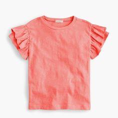 girls' flutter-sleeve t-shirt : girl short-sleeve t-shirts
