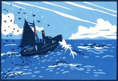"""Homeward Bound"" / boat sea - 3 block lino print - Colin Moore U. Linocut Prints, Art Prints, Block Prints, Illustration, Seascape Paintings, Sky And Clouds, Wood Engraving, Ciel, Unique Art"