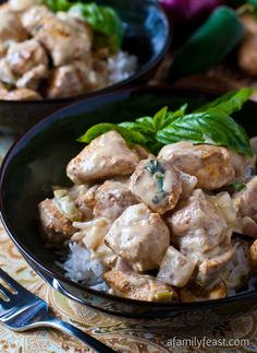 Basil Chicken in Coconut-Curry Sauce - Super flavorful chicken in a creamy coconut curry sauce. So good!