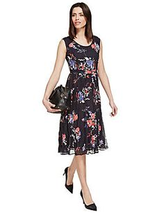 Navy Mix Crinkle Floral Shift Dress