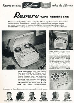 1957 ad for the Revere reel to reel tape recorder in Reel2ReelTexas.com's vintage recording collection