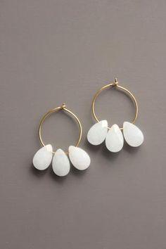 gold plated small brass hoop earrings with dyed jade. Brass Jewelry, Modern Jewelry, Jewelry Box, Jewelery, Jewelry Accessories, Jewelry Design, Prom Jewelry, Jewelry Findings, Jewelry Dresser