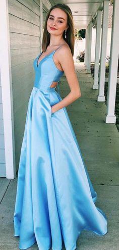 3d2efadc695c Blue Satin Sleeveless V-neck Lace Up Back A-line Senior Prom Dresses, DB1107