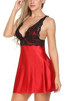 Avidlove Women Sleepwear Satin Nightwear Deep V Lingrie Lace Chemise Night Dress Red S Lingerie Outfits, Lingerie Dress, Pretty Lingerie, Bridal Lingerie, Babydoll Lingerie, Beautiful Lingerie, Women Lingerie, Sexy Lingerie, Satin Sleepwear