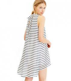 J.O.A. Striped Neck-Tie Dress
