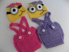 Minion purple or pink crochet outfit-newborn,3-6mo,6-9mo,9-12mo,hat,diaper-Baby girl Crochet Despicable Me Outfit-FALL Costumes on Etsy, $21.00