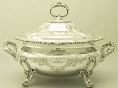 An exceptional, fine and impressive, large antique Victorian English sterling silver soup tureen; an addition to our dining silverware collection