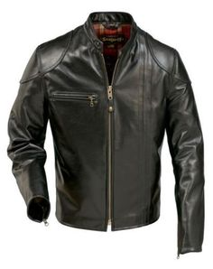 NEW-Schott-664-Cafe-Racer-RETRO-Black-Leather-Motorcycle-Jacket-NWT-MADE-IN-USA