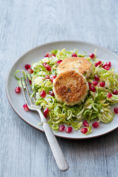 Shaved Brussels Sprout Salad with Pan-Fried Goat Cheese and Pomegranate | Love and Olive Oil