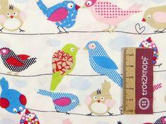 0,5 m Baumwolldruck bunte Vögel auf weiß von trotzknopf auf DaWanda.com