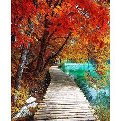 Autumn in Plitvice Croatia.