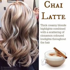 Chai Latte. Blonde with cinnamon. Love the color contrast!