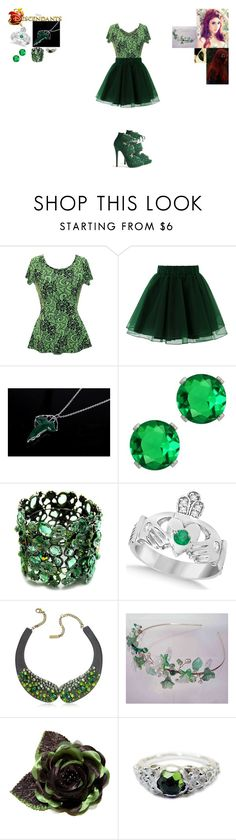 """Paige Ivy-Daughter of Poison Ivy"" by maxinehearts ❤ liked on Polyvore featuring Chicwish, Charlotte Olympia, Fantasy Jewelry Box, Allurez, Radà and Clips"