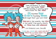Dr. Seuss Thing One and Thing Two Birthday Invitation
