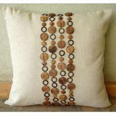 Wood Space - Throw Pillow Covers - 20x20 Inches Linen Pillow Cover with Wooden Beads