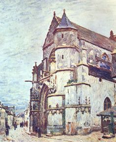 Church at Moret after the Rain by @artistsisley #impressionism
