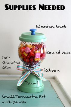 Gumball Machine Style Candy Dish...I think this one is pretty cute. I like that the glass looks swirled.