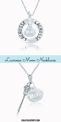 These lacrosse mom necklaces are the perfect way to show mom your appreciation!   Our beautifully crafted necklaces are made from the highest quality materials and are silver plated with an adjustable silver chain. Choose to add a cubic zirconium stone to your charm for an extra sparkle!  Mom will love this lacrosse gift!  Only from ChalkTalkSPORTS.com!